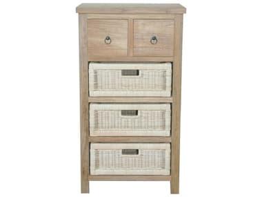 Anderson Teak Safari Occasional Table W/ Drawer & Rattan Baskets AKTB2130C