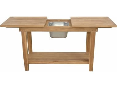 Anderson Teak Nautilus Console Table W/ Ss Container AKTB4821