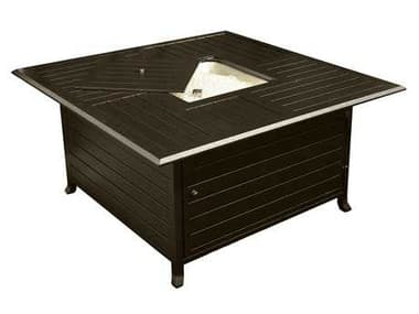 AZ Patio Heaters 45'' Wide Square Slatted Aluminum Firepit In Bronze AZF1108FPT