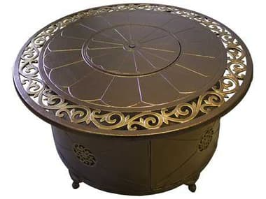 AZ Patio Heaters 48'' Wide Round Cast Aluminum Decorative Firepit In Bronze AZF1201FPT