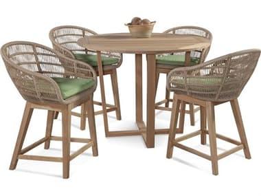 Braxton Culler Outdoor Blue Rock Teak Wicker Dining Set BCO481175ASET