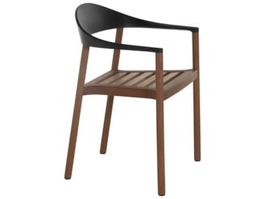 Bernhardt Design Plank Outdoor Monza Black / Iroko Wood Recycled Plastic Dining Chair BDO12094001IR