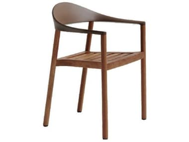Bernhardt Design Plank Outdoor Monza Caramel / Iroko Wood Recycled Plastic Dining Chair BDO12094034IR