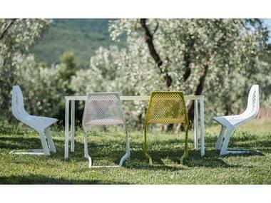 Bernhardt Design Plank Outdoor Monza Patio Dining Set BDO920801WH02FM02SET