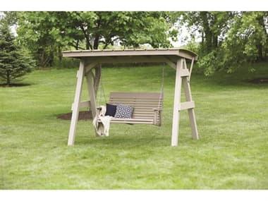 Berlin Gardens Arbors & A-frame Recycled Plastic Lounge Set BLGARBRSFRMESWINGSET2
