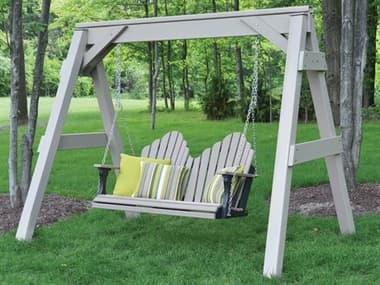 Berlin Gardens Arbors & A-frame Recycled Plastic Lounge Set BLGARBRSFRMESWINGSET5