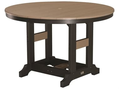 Berlin Gardens Garden Classic Recycled Plastic 48'' Wide Round Dining Height Table with Umbrella Hole BLGGCDT0048D