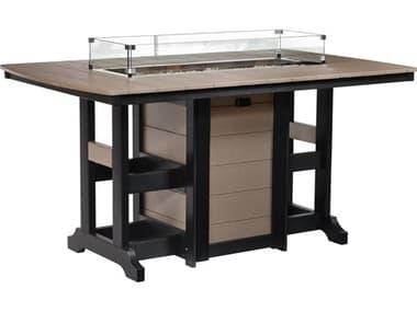 Berlin Gardens Garden Classic Recycled Plastic 72''W x 44''D Rectangular Counter Height Fire Table BLGGCFT4472C