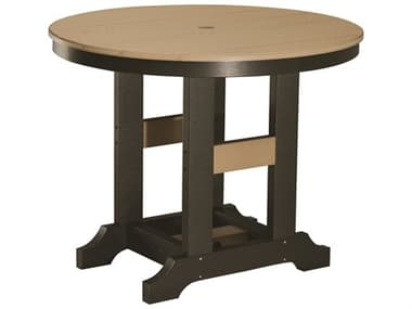 Berlin Gardens Garden Classic Recycled Plastic 38'' Wide Round Bar Height Table with Umbrella Hole BLGGCRT0038B