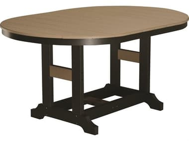 Berlin Gardens Garden Classic Recycled Plastic 64''W x 44''D Oval Dining Height Table with Umbrella Hole BLGGCST4464D