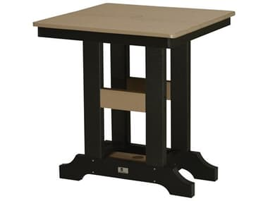 Berlin Gardens Garden Classic Recycled Plastic 28'' Wide Square Bar Height Table with Umbrella Hole BLGGCT0028B