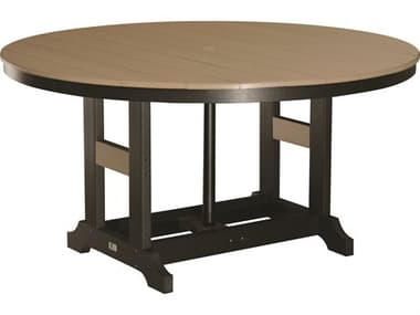 Berlin Gardens Garden Classic Recycled Plastic 60'' Wide Round Dining Height Table with Umbrella Hole BLGGCT0060D