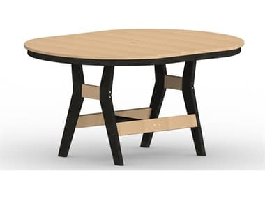 Berlin Gardens Harbor Recycled Plastic 64''W x 44''D Oval Bar Height Table with Umbrella Hole BLGHOT4464B