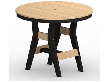 Berlin Gardens Harbor Recycled Plastic 38'' Wide Round Bar Height Table with Umbrella Hole BLGHRT0038B