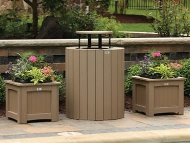 Berlin Gardens Accessories Recycled Plastic Planters and Trash Can Set BLGPLNTRTRSHSET