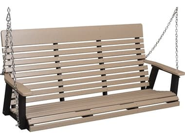 Berlin Gardens Casual Back Recycled Plastic Three Seat Swing in Zinc Chains BLGPLTS6000ZC