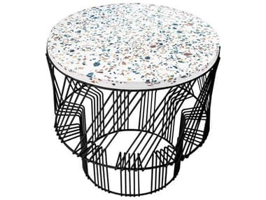 Bend Goods Outdoor Terrazzo Black 19'' Wide Round End Table BOOTERRAZZOBLK