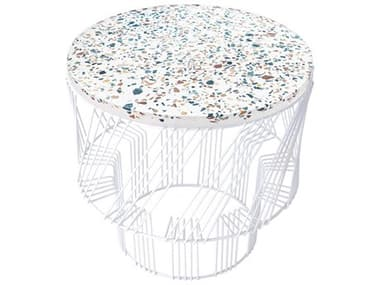 Bend Goods Outdoor Terrazzo White 19'' Wide Round End Table BOOTERRAZZOWH