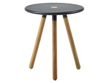 Cane Line Outdoor Area Aluminum Teak 15'' Wide Round End Table/Stool CNO11009T