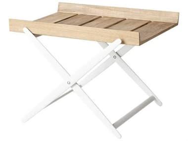 Cane Line Outdoor Teak / White 23'' Wide Aluminum Rectangular End Table CNO5006TAW