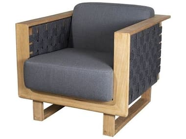 Cane Line Outdoor Angle Teak Soft Rope Dark Grey Lounge Chair CNO54010RODGAITGT