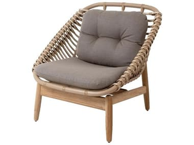 Cane Line Outdoor String Aluminum Teak Natural Lounge Chair in Taupe CNO54020UAITTT