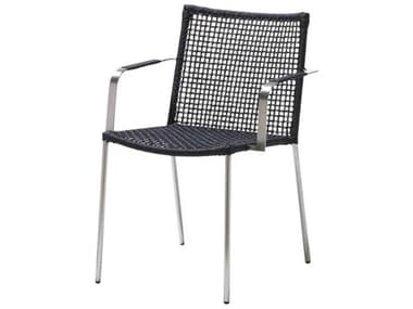 Cane Line Outdoor Straw Anthracite Aluminum Rope Strap Dining Chair CNO5408RSTG