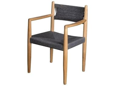 Cane Line Outdoor Royal Teak Soft Rope Dark Grey Dining Arm Chair CNO54601RODGT