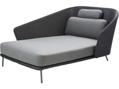Cane Line Outdoor Mega Graphite Aluminum Wicker Cushion Lounge Bed CNO55106LG