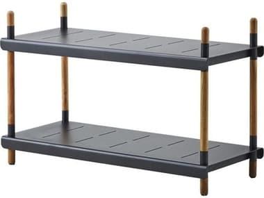 Cane Line Outdoor Frame Aluminum Teak Low Shelving System CNO5789