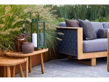 Cane Line Outdoor Angle Teak Soft Rope Dark Grey Lounge Set CNOANGLELNGSET1