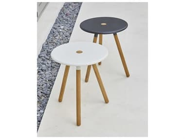 Cane Line Outdoor Area Aluminum Teak End Table/Stool Set CNOAREAENDTBLESET
