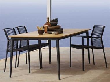 Cane Line Outdoor Edge  Aluminum Rope Strap Dining Set CNOEDGEDINSET2