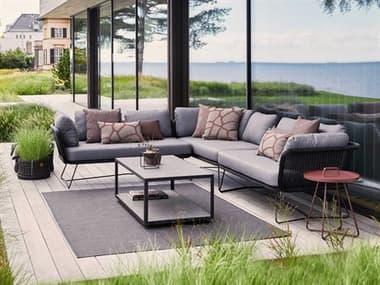 Cane Line Outdoor Horizon Steel Wicker Sectional Lounge Set CNOHORZNSECLNGSET