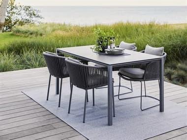 Cane Line Outdoor Moments Grey Aluminum Soft Rope Grey Dining Set CNOMOMNTSDINSET