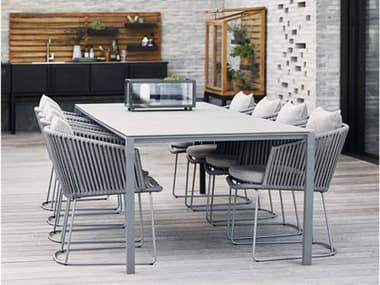Cane Line Outdoor Moments Grey Aluminum Soft Rope Grey Dining Set CNOMOMNTSDINSET1