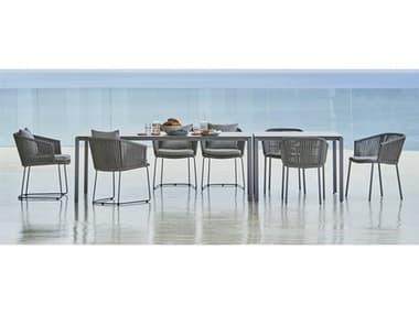 Cane Line Outdoor Moments Grey Aluminum Soft Rope Grey Dining Set CNOMOMNTSDINSET2