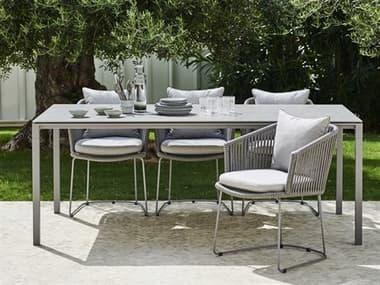 Cane Line Outdoor Moments Grey Aluminum Soft Rope Grey Dining Set CNOMOMNTSDINSET3