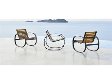 Cane Line Outdoor Parc Teak Aluminum Rocker Lounge Chair Set CNOPARCLNGCHRSET