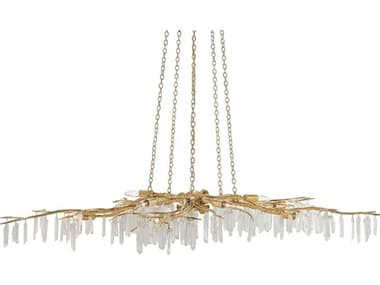Currey & Company Aviva Stanoff Forest Washed Lucerne Gold / Natural Ten-Light 62'' Wide Chandelier CY90000040