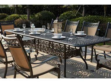 Darlee Outdoor Living Mountain View Cast Aluminum 11- Piece Dining Set 92 x 42 / 120 x 42 Rectangular Extension Dining Table in Antique Bronze DA20161011PC60LE