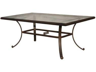 Darlee Outdoor Living Glass Top Cast Aluminum Antique Bronze 72 x 42 Rectangular Dining Table DADL50E