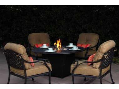 Darlee Outdoor Living Nassau Casual Cushion Antique Bronze Cast Aluminum Lounge Set DANASSAUH