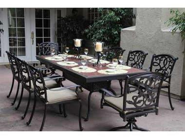 Darlee Outdoor Living Santa Monica Casual Cushion Antique Bronze Cast Aluminum Dining Set DASANTAMONICASETA