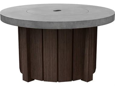 Ebel Taos Aluminum 42'' Wide Round Concrete Top Fire Pit Table with Lid EBL115