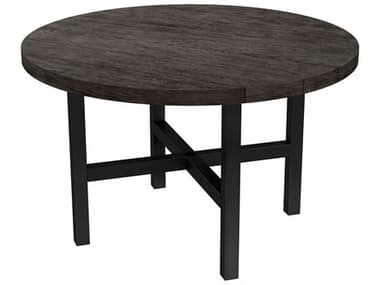Ebel Asheville Aluminum 50'' Wide Round Plank Top Dining Table with Umbrella Hole EBL204ASH