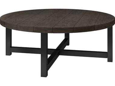 Ebel Asheville Aluminum 50'' Wide Round Plank Top Chat Table with Umbrella Hole EBL205