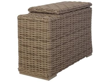 Ebel Laurent Wicker 34''W x 13''D Rectangular End Table with Cup Holder & Storage EBL289