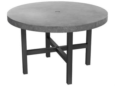 Ebel Fairbanks Aluminum Onyx 50'' Wide Round Concrete Top Dining Table with Umbrella Hole EBL404100