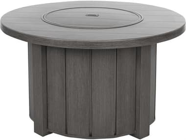 Ebel Trevi Aluminum 42'' Wide Round Plank Top Fire Pit Table with Lid EBL974